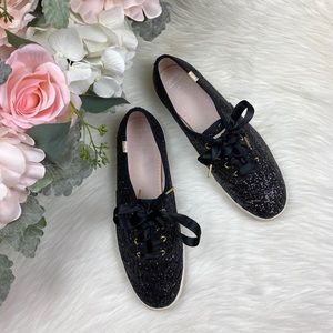 kate spade Shoes - Keds and Kate Spade Black Glitter Sneakers Size 10